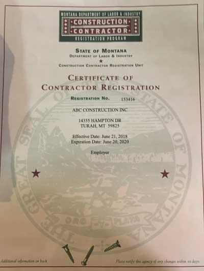 contractor certification
